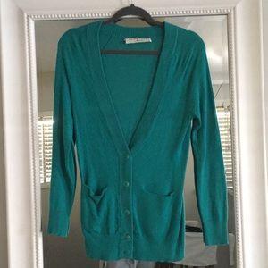 Trina Turk silk cashmere wool turquoise sweater